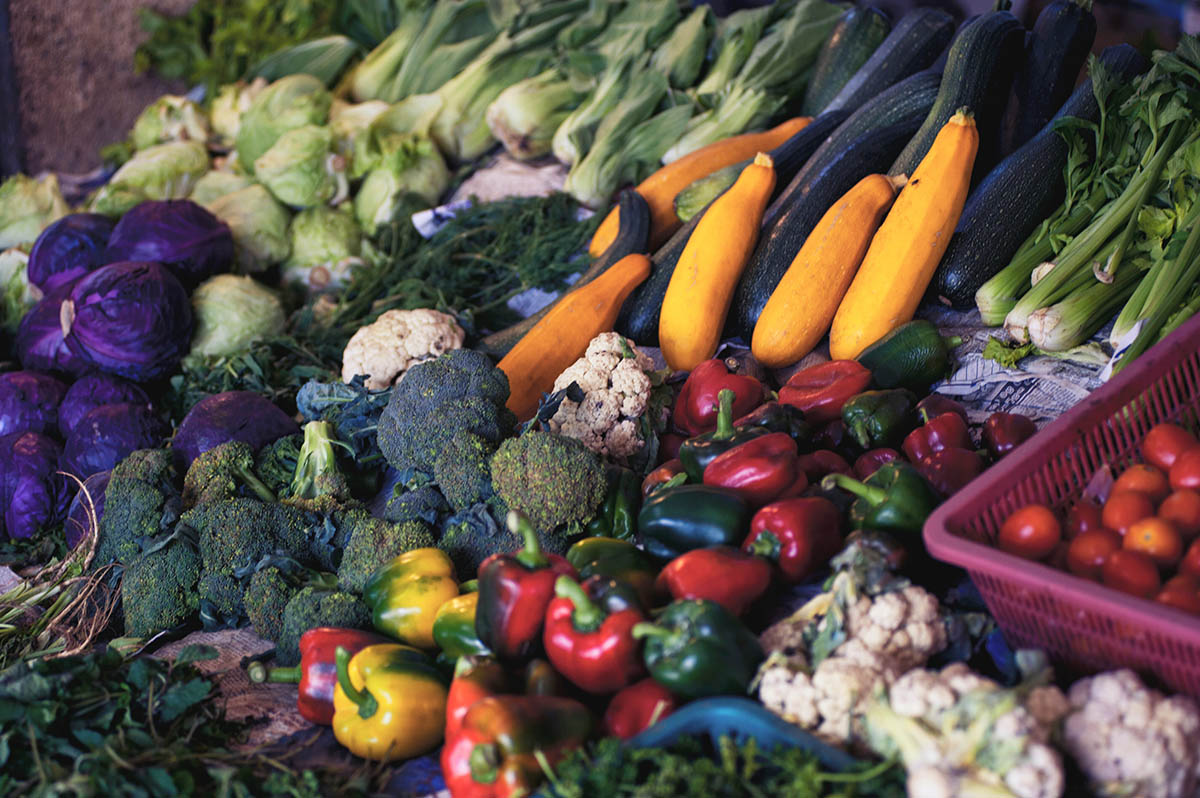 A variety of vegetables, like a nutrition coach would encourage