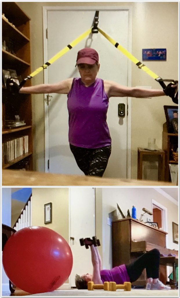 Woman shown doing exercises at home during video conference personal training session