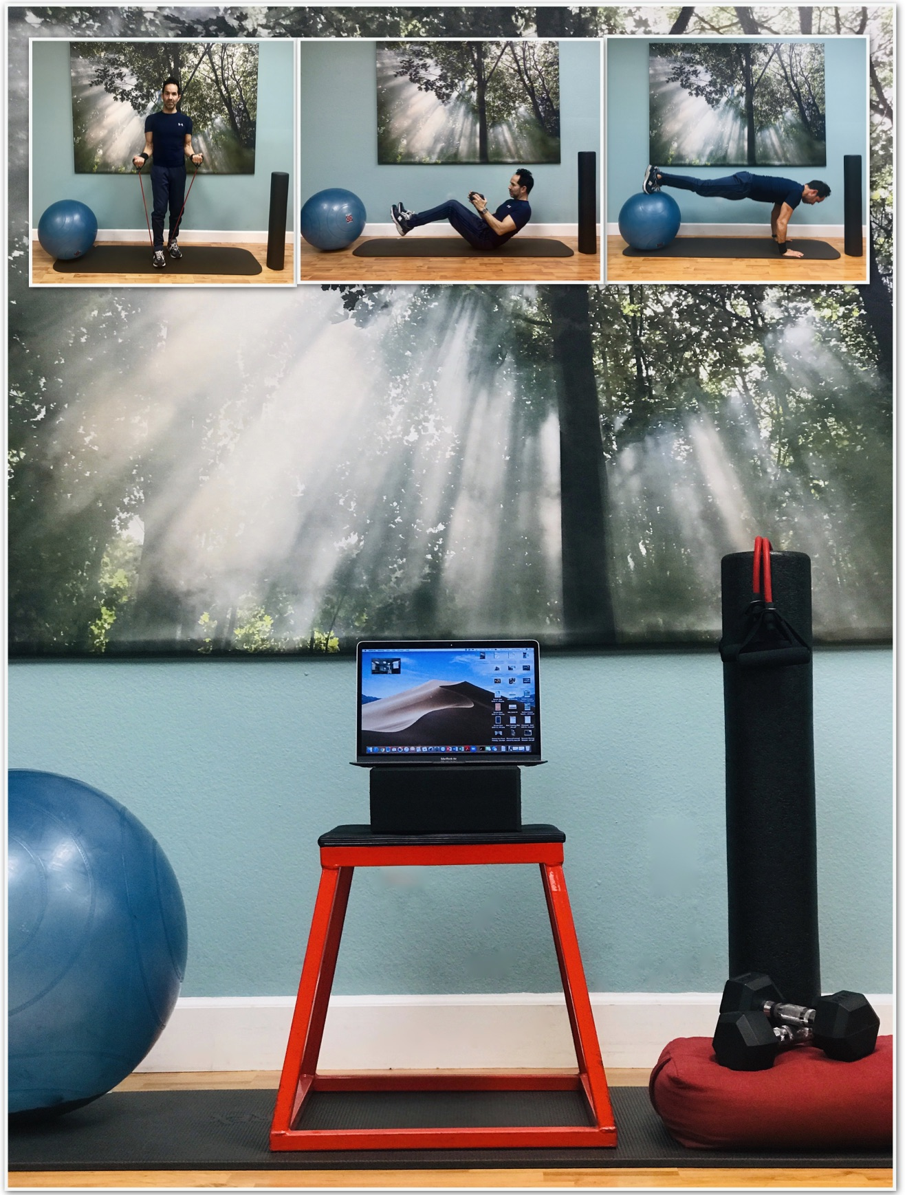 Personal training set-up for live virtual sessions.