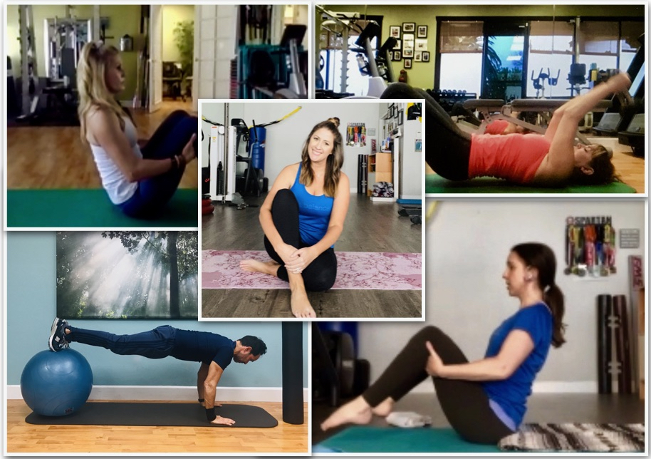 Photos of several different personal trainers demonstrating workout exercises in a gym.