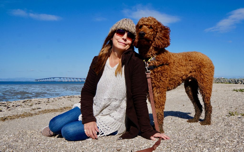 Massage therapist woman on the beach with a dog